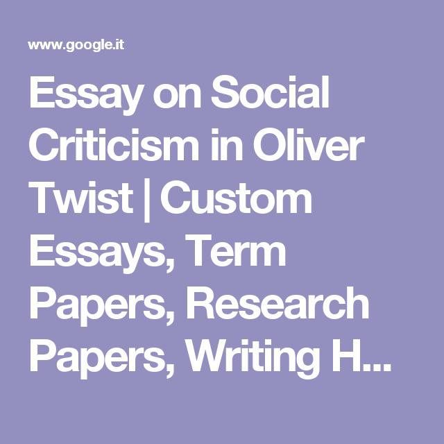 oliver twist social criticism