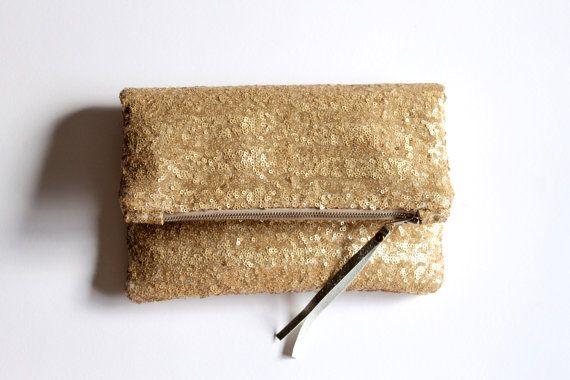 Gold Sequin fold over clutch, sequin clutch, matte gold