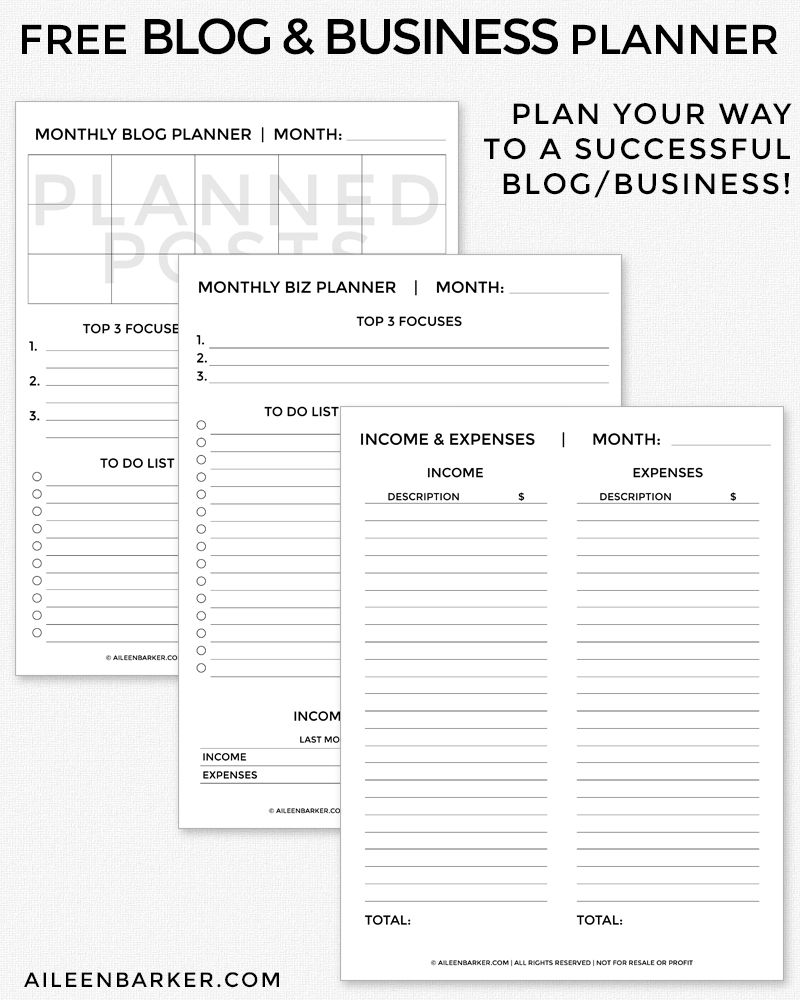 free business planner printables 2019