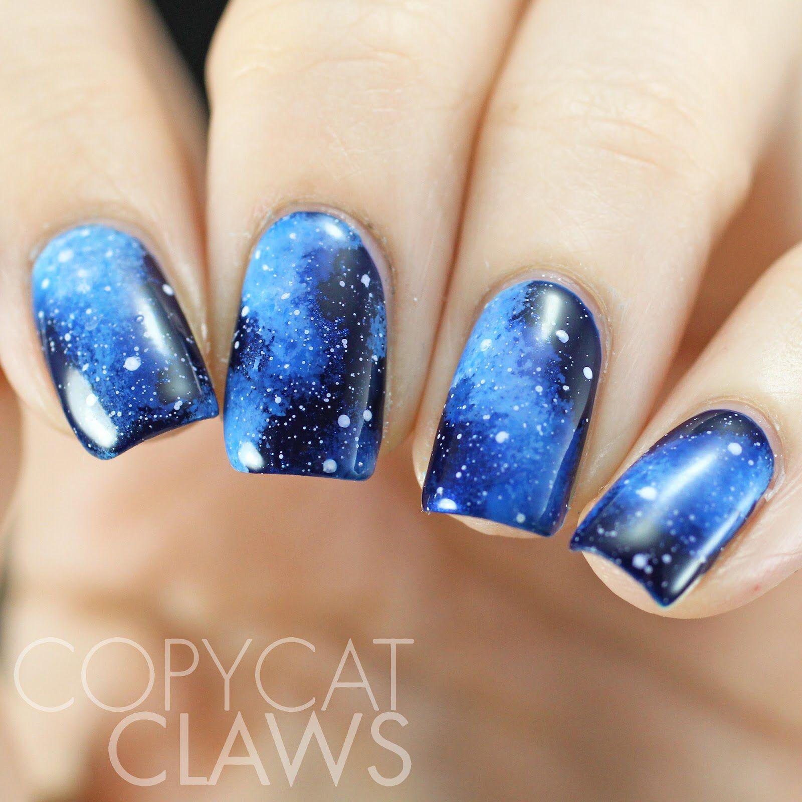 Blue galaxy nail - tutorial in description | How to- galaxy nails ...