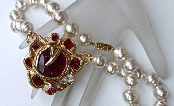 c1735633705 Vintage YVES SAINT LAURENT Ruby Stone Pearl by VintagEnMode Ruby Stone, Baroque  Pearls, Ysl