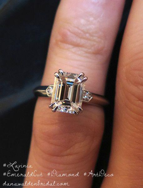 Emeralds · Shown On Finger - Lavinia - Art Deco Engagement Ring - Emerald  Cut Diamond - 2