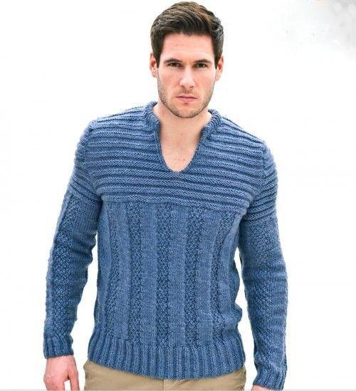 Hand Knitted men\'s V-neck sweater turtleneck men crewneck hand ...