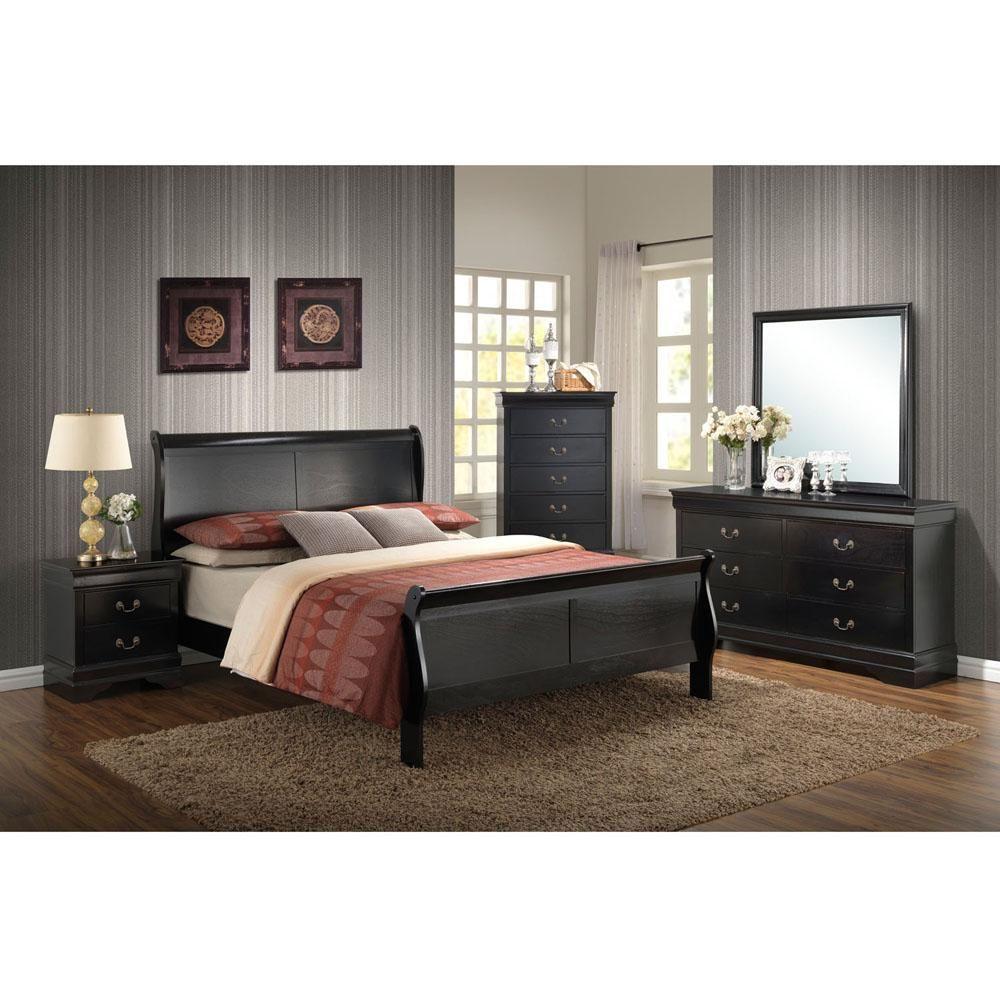 Piedmont 5 Piece Black Bedroom Suite Full Bed Dresser Mirror