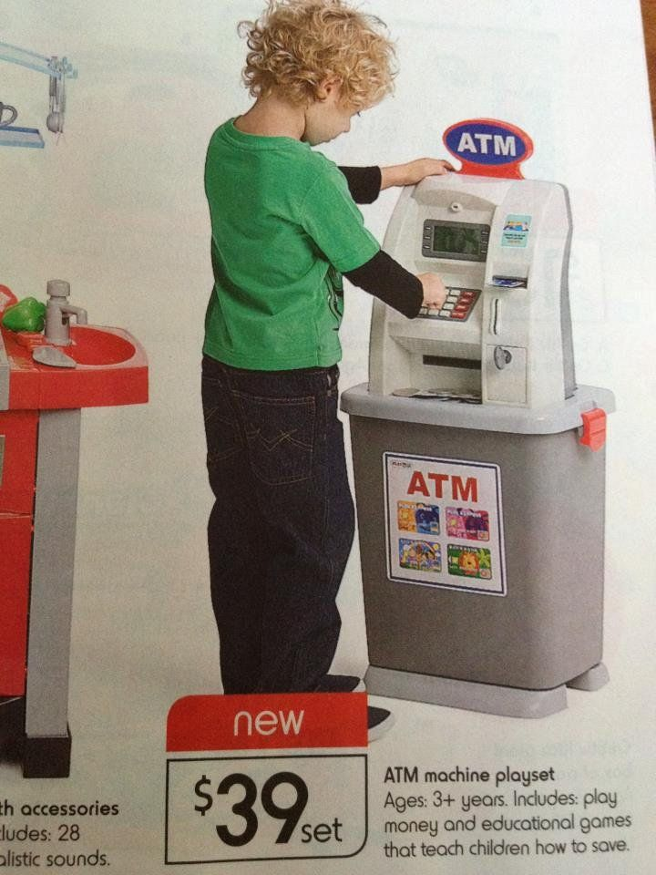Here is an ad for an ATM playset! | Playset, Baby alive, Atm