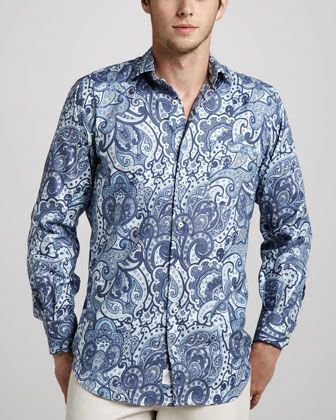 Paisley-Print Sport Shirt, Patriot Navy by Peter Millar at Neiman Marcus.
