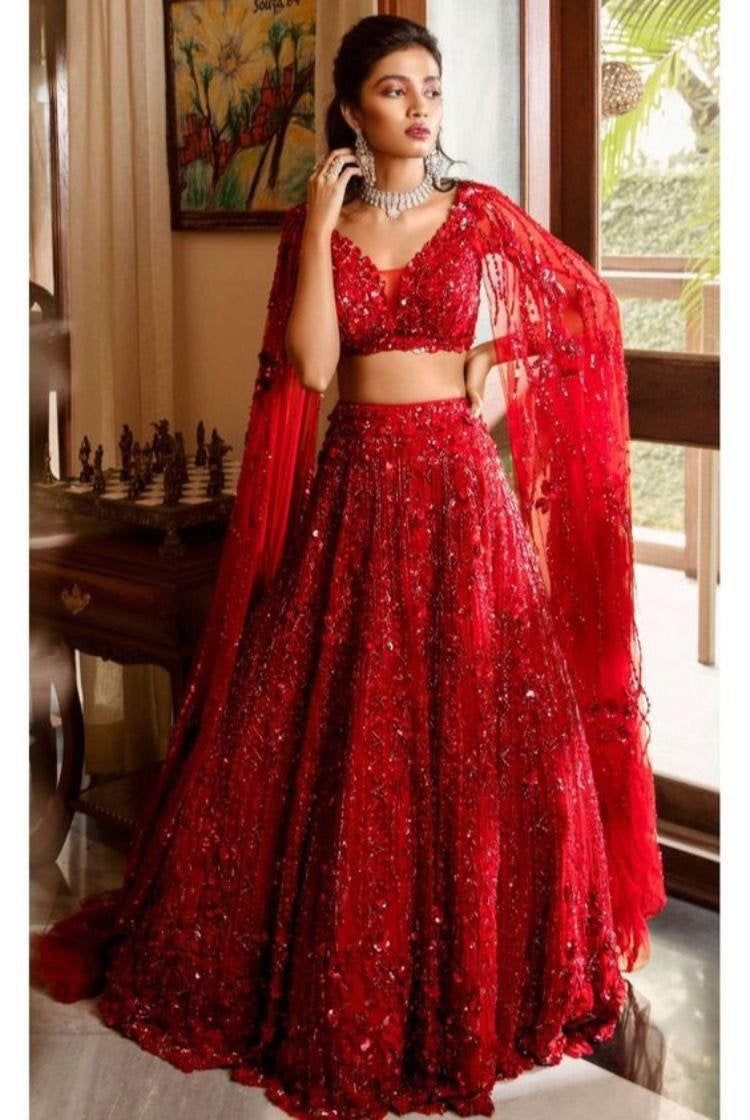 Red colour designer lehenge and red designer choli