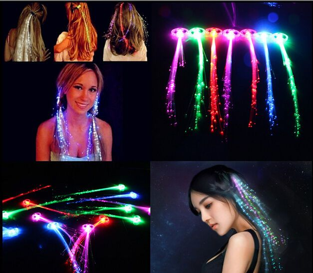 Led Light Up Hair Extension Braid Clip Pony Tail Fiber Optic Girls