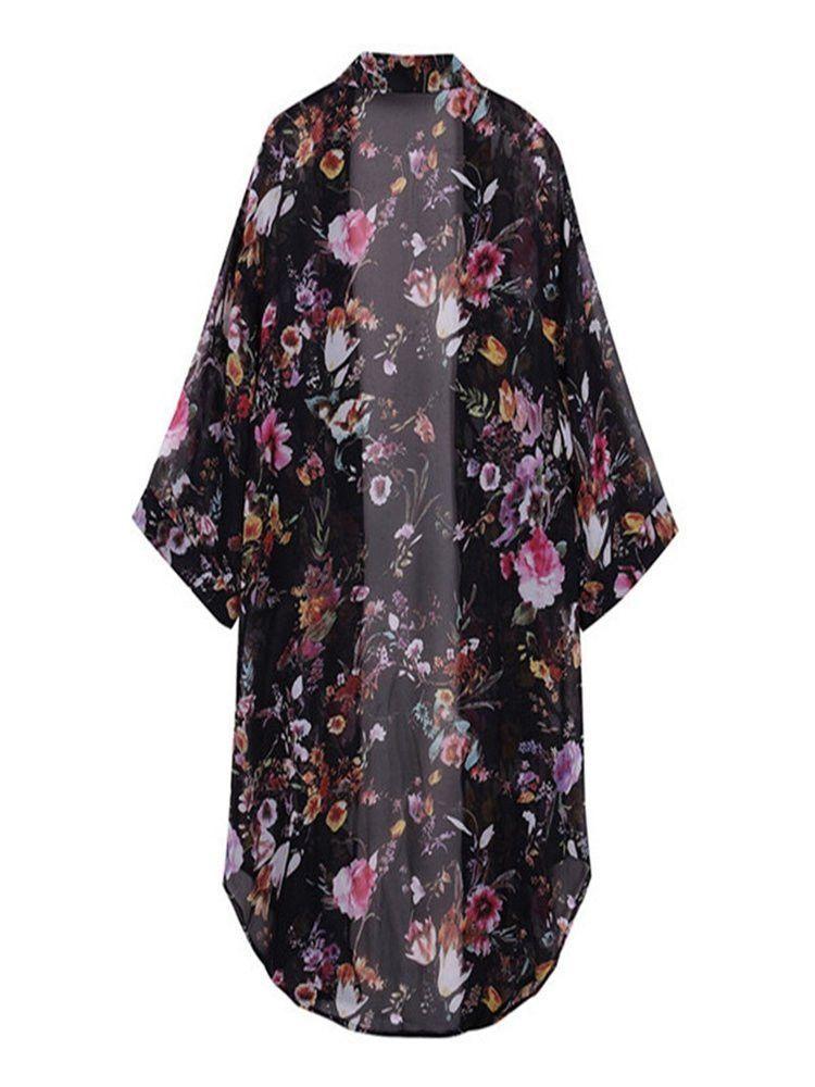 Women Short Sleeve Floral Batwing Chiffon Cardigan | Cute clothes ...