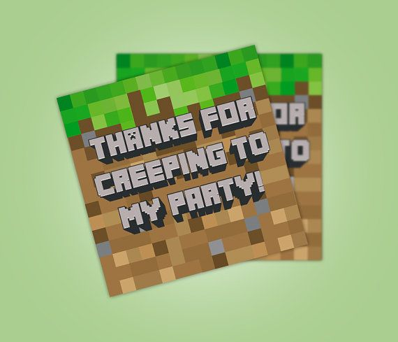 Minecraft Party Favor Tags, Thank You Tag, Minecraft Party