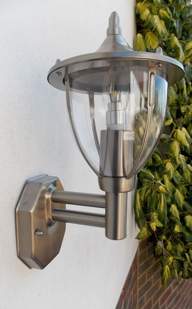 Stellus centurian wl pc stainless steel outdoor wall light with stellus centurian wl pc stainless steel outdoor wall light with dusk to dawn photocell mozeypictures Image collections