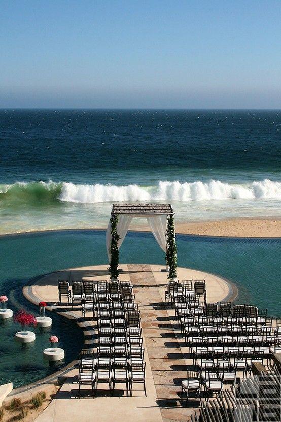 Unique and magnificent wedding ceremony setup at Capella Pedregal Cabo San Lucas. #destinationwedding #mexico