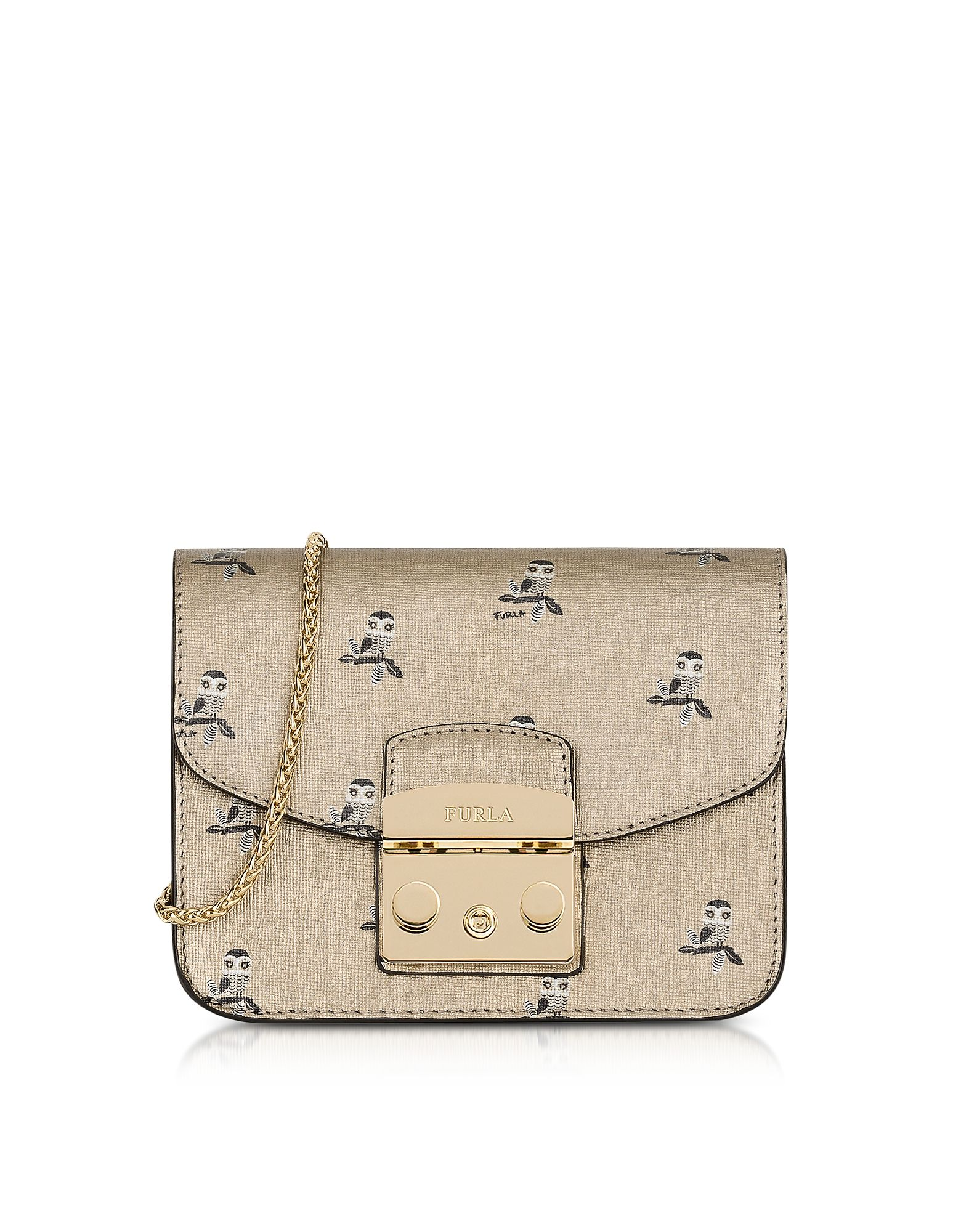 Furla Handbags, Toni Mini Owl Printed Saffiano Leather Metropolis Mini Crossbody Bag
