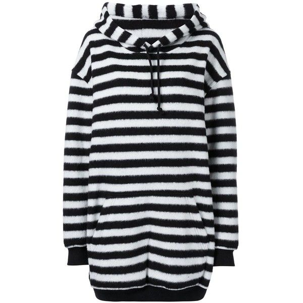A.F.Vandevorst Oversized Striped Hoodie ($419) ❤ liked on Polyvore featuring tops, hoodies, striped hoodie, striped top, oversized tops, oversized hoodie and hooded sweatshirt