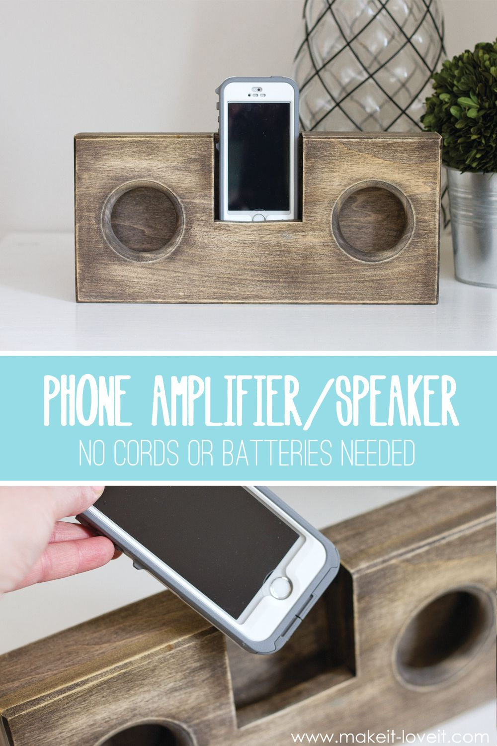 Phone service for home small business amp - Diy Wooden Phone Amplifier Speaker No Cord Or Batteries Needed Via Make
