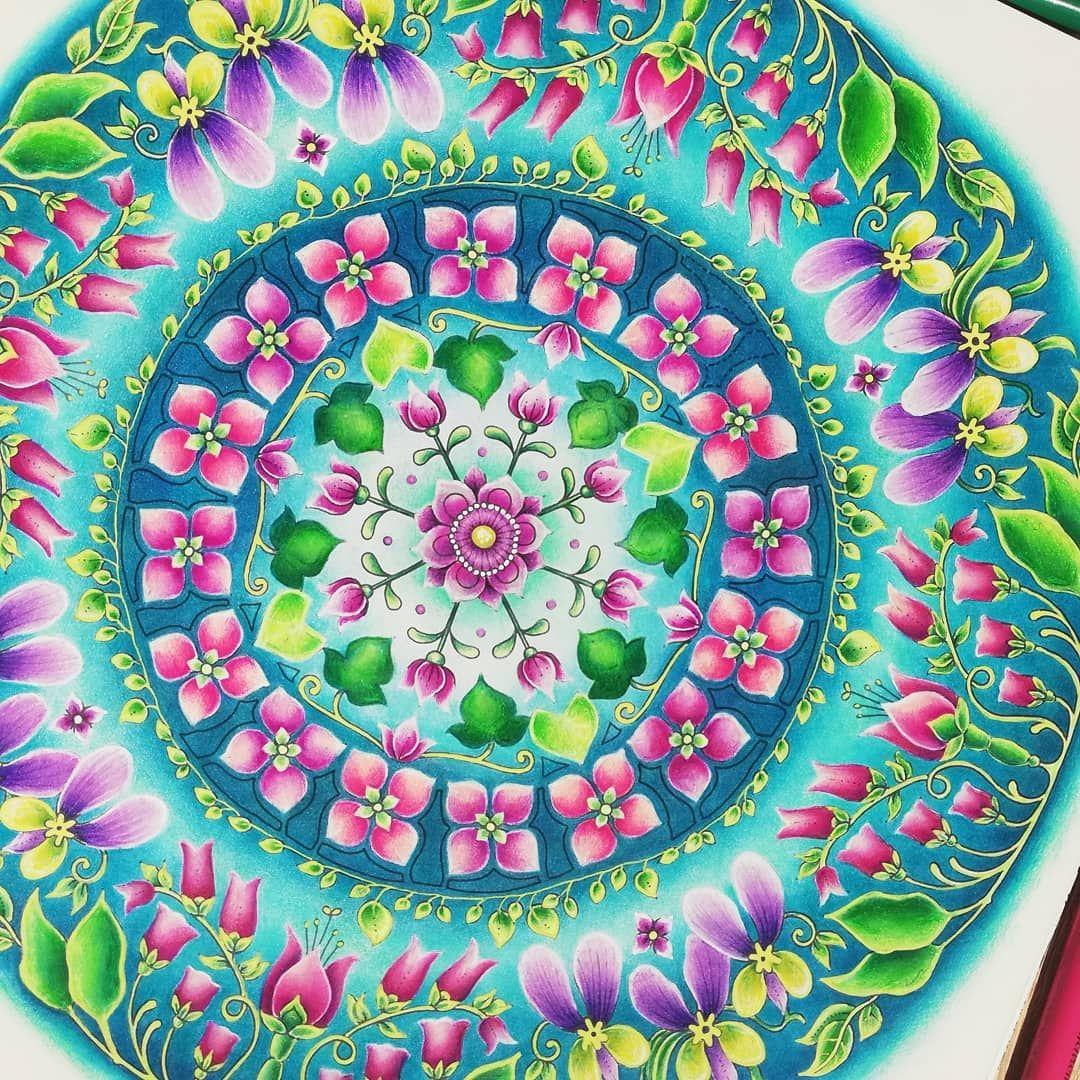 Kari On Instagram Flower Mandala From World Of Flowers By Johannabasford Colo Johanna Basford Coloring Book Flower Mandala Coloring Book Art