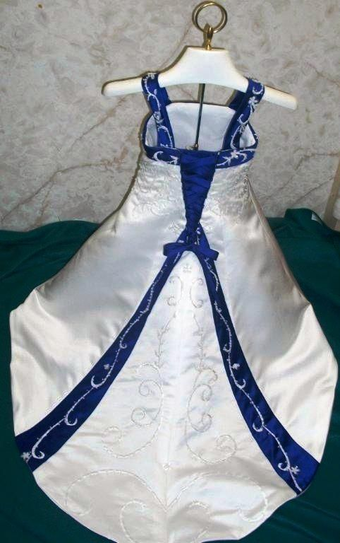 Wedding Dress With Royal Blue Accents White And Royal Blue