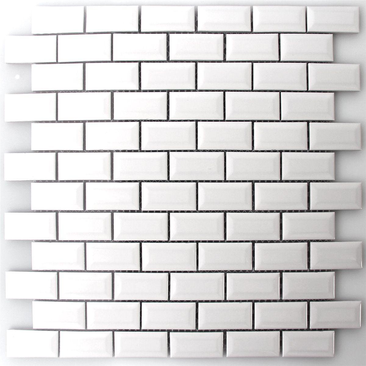 für die waschküche: keramik metro mosaik fliesen mit facette weiss ... - Fliesen Laminat Glnzend