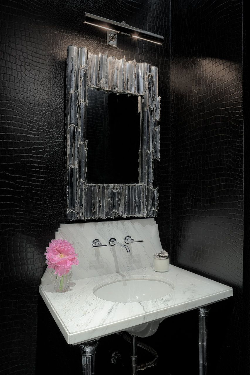 Powder Room With Black Crocodile Wall Paper Designed By Ryan