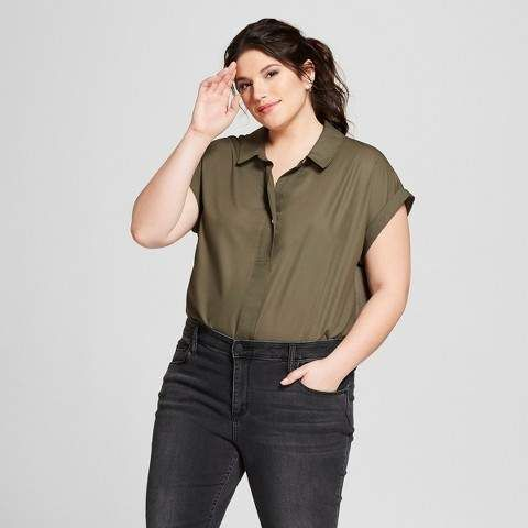 891f65d99e7073 A New Day Women s Plus Size Popover Short Sleeve Shirt