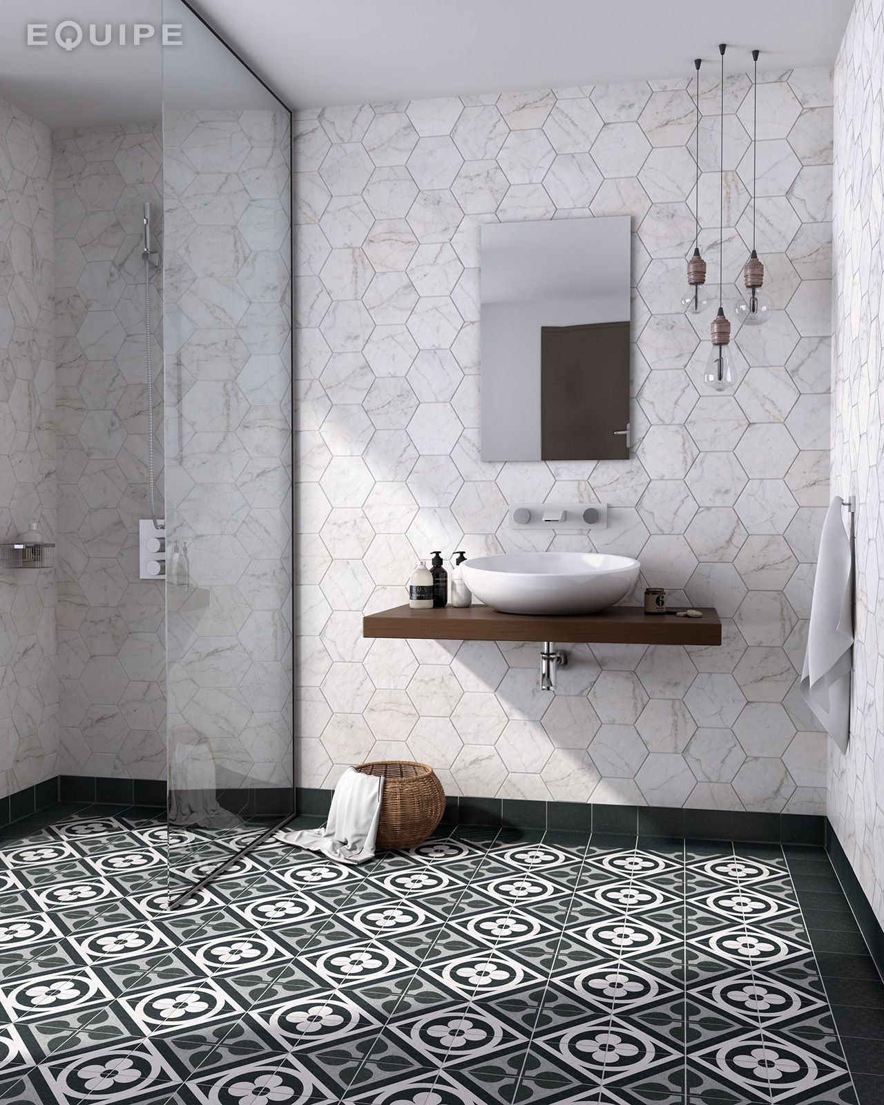 Area 15 Graphite, deco Flower Black 15x15 / Carrara Hexagon 17,5x20. #antislip, #architecture, #square, #tile, #traditional, #architect, #bath, #bathroom floor, #bathroom flooring, #bathroom tile, #ceramic tile, #ceramic tiles, #ceramic, #contemporary, #contractor, #design, #house, #industrial, #interior design, #interior designer, #kitchen, #kitchen tile, #modern, #hexagon, #equipe