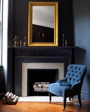 navy walls. gold accents. That CHAIR! | home | Pinterest ...