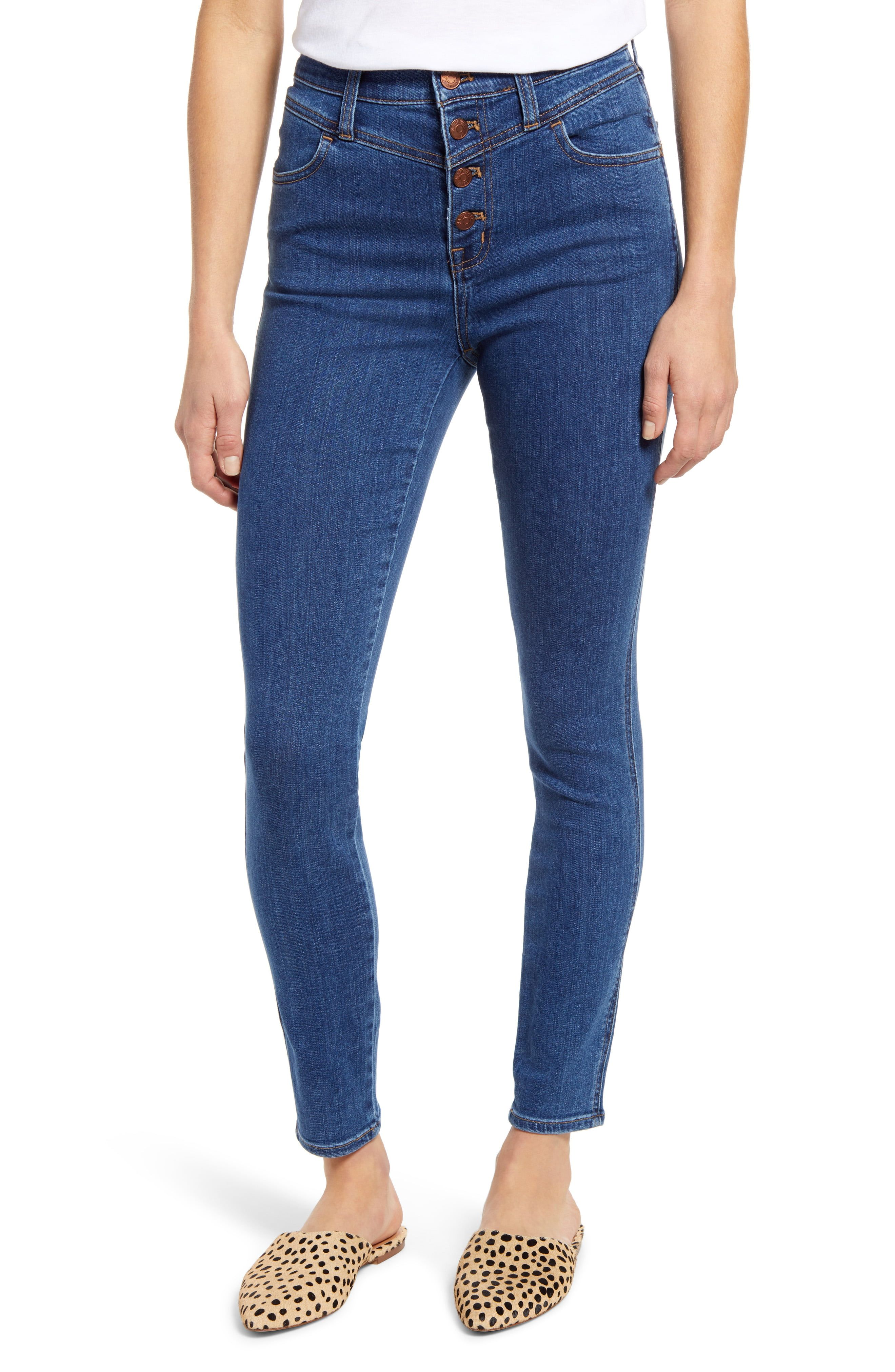 Lightweight and just stretchy enough, these high-rise jeans are crafted from supersoft denim that really lets you breathe. This cool pair is updated with an exposed-button fly and '80s-inspired yoke. Style Name:Madewell 10-Inch High Waist Roadtripper Jeans (Eversall). Style Number: 6130764. Available in stores.