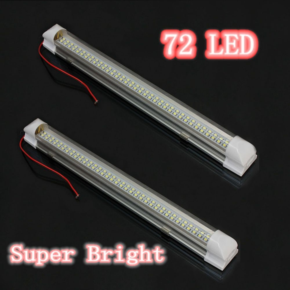 12 Volt Led Light Strips 2X 72 Led Interior Light Strip Bar Car Van Bus Caravan Onoff Switch