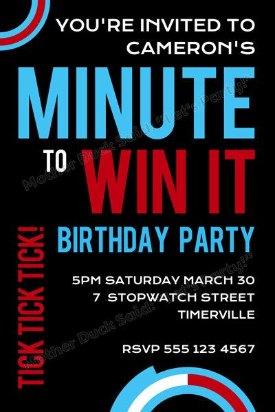 Minute To Win It Party Invitations Go Shorty It S Your