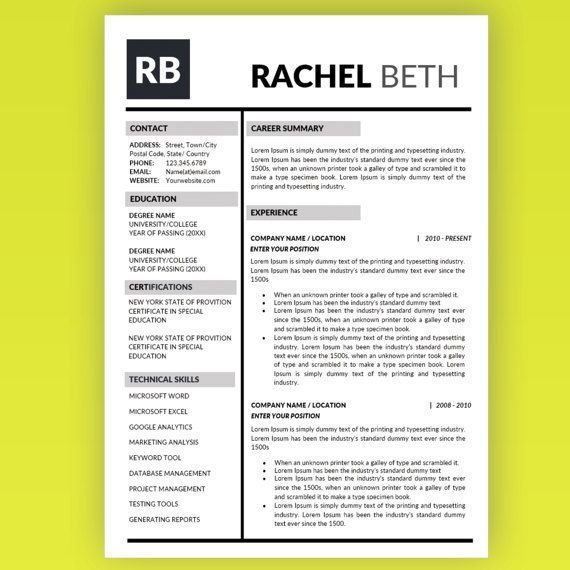 Professional Resume Template Instant Download / Professional Resume