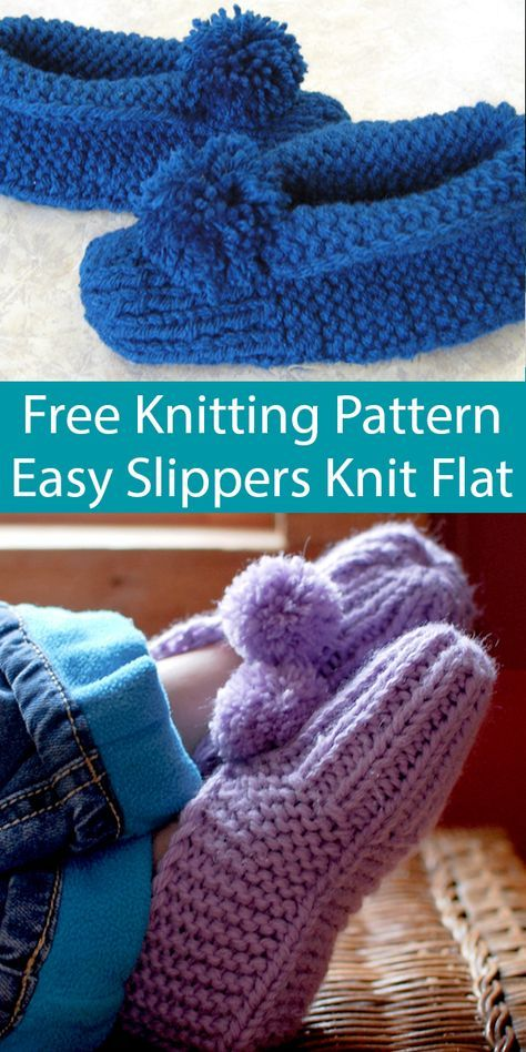 Free Knitting Pattern for Easy Parkspin Slippers Knit Flat ...