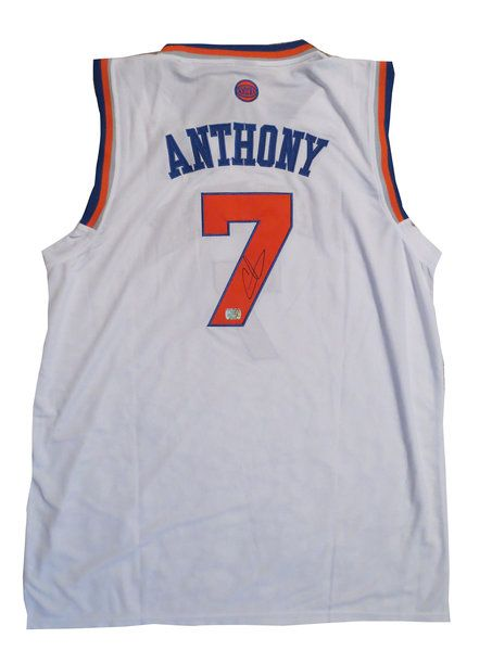 promo code 67f2d 23ebf Carmelo Anthony Autographed White New York Knicks Basketball ...