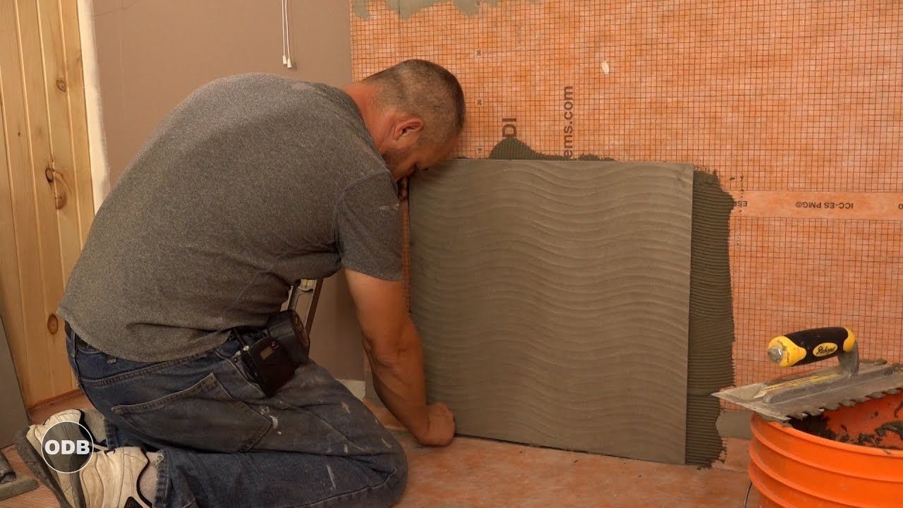 How to Install 7 x 7 Porcelain Tile on the shower wall  Shower