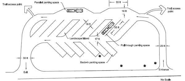 Drawing of different types of parking spaces. In the
