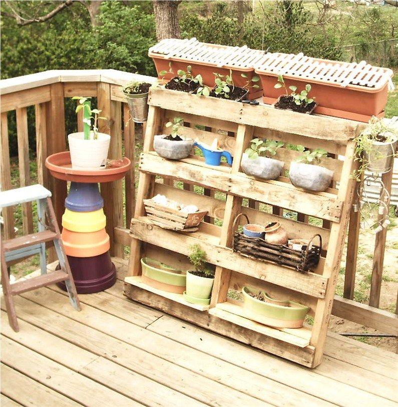 Garden Decor Using Pallets: My Pallet Garden Shelf...I Just Took Boards From A Scrap