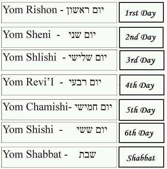 Calendrier Hebreu.Hebrew Days Of The Week Israeli Dream Hebraique Lettre