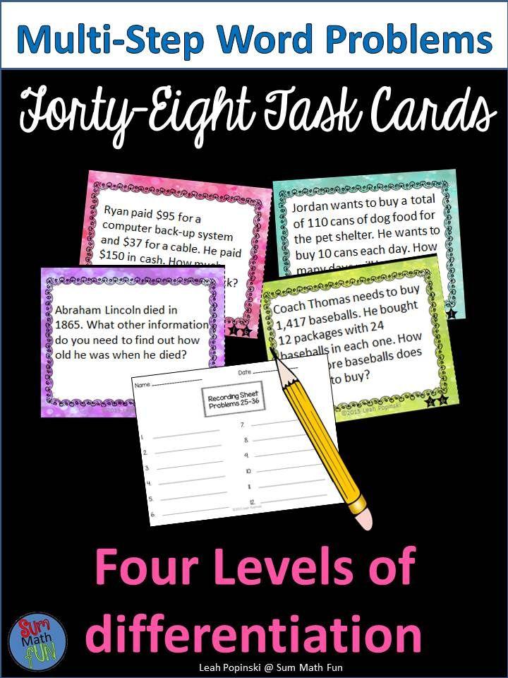 multi step word problem task cards 4th grade fourth grade word problems math word problems. Black Bedroom Furniture Sets. Home Design Ideas