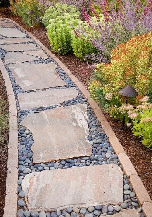 32 Natural And Creative Stone Garden Path Ideas Walkway Landscaping Landscaping With Rocks Front Yard Landscaping