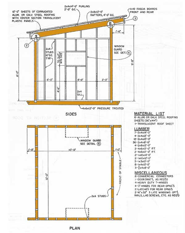 10x12 lean to storage shed plans details 1 chickens for Lean to style house plans