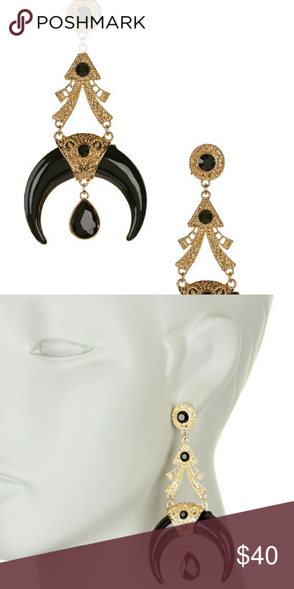 """Eye Candy Los Angeles Bandit Earrings ?Details:  - Gold-tone detailed statement earrings with tiered black stone accented horn drop - Post back - Approx. 3.5"""" length - Imported  Materials:  Metal alloy (nickel and lead free), enamel Eye candy  Jewelry Earrings"""