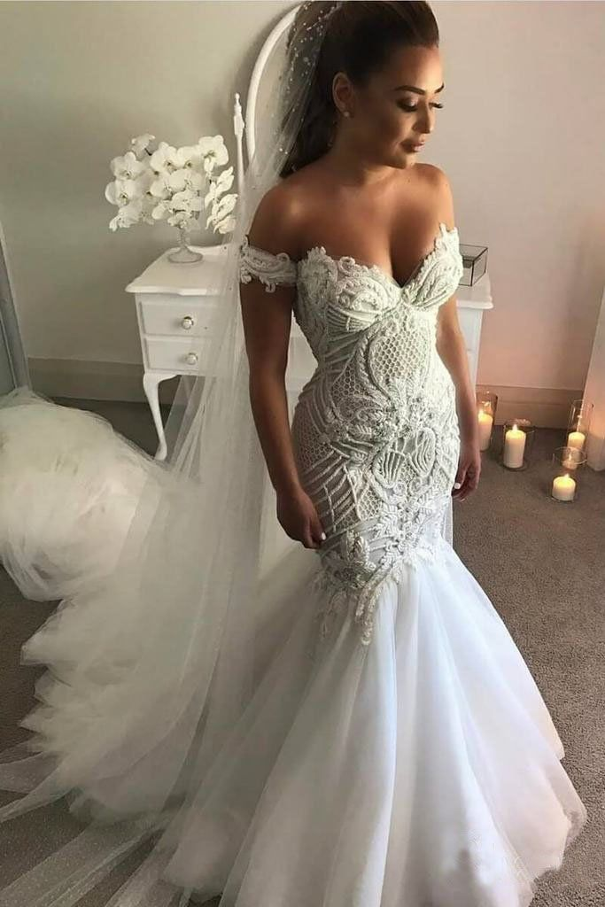 Off The Shoulder Mermaid Wedding Dress With Lace Long Tulle Bridal Dress With Train N1 Lace Mermaid Wedding Dress Womens Wedding Dresses Mermaid Wedding Dress
