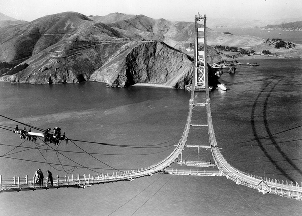 Construcción del Golden Gate, San Francisco, 1935.
