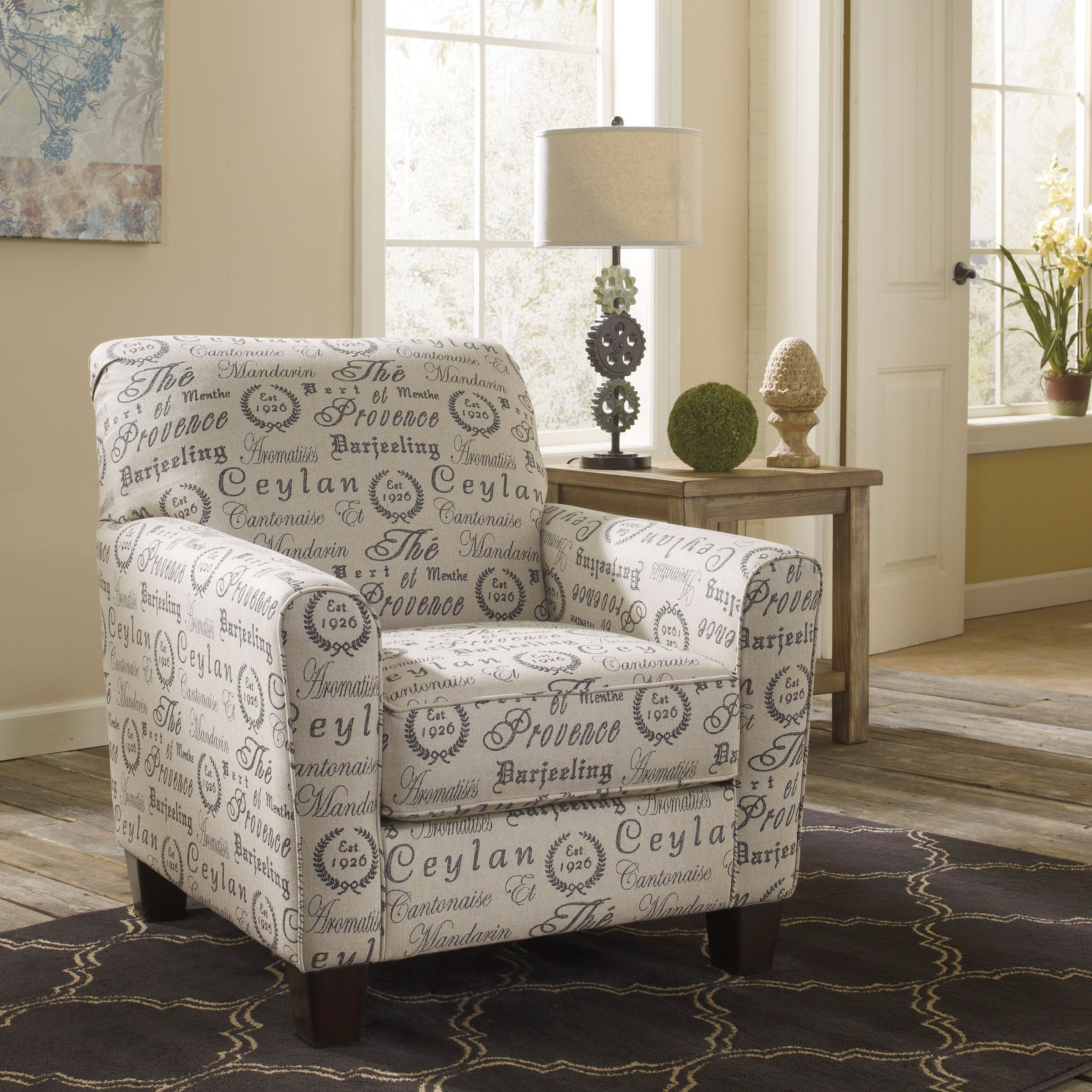 Signature design by ashley alenya quartz tan script print accent chair overstock com shopping the best deals on living room chairs