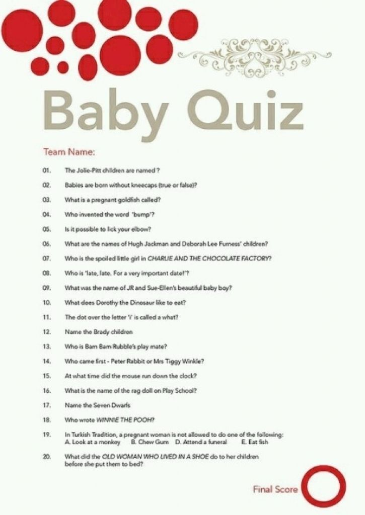 baby shower quiz from baby shower quiz Made Easy Check more at - baby shower agenda template