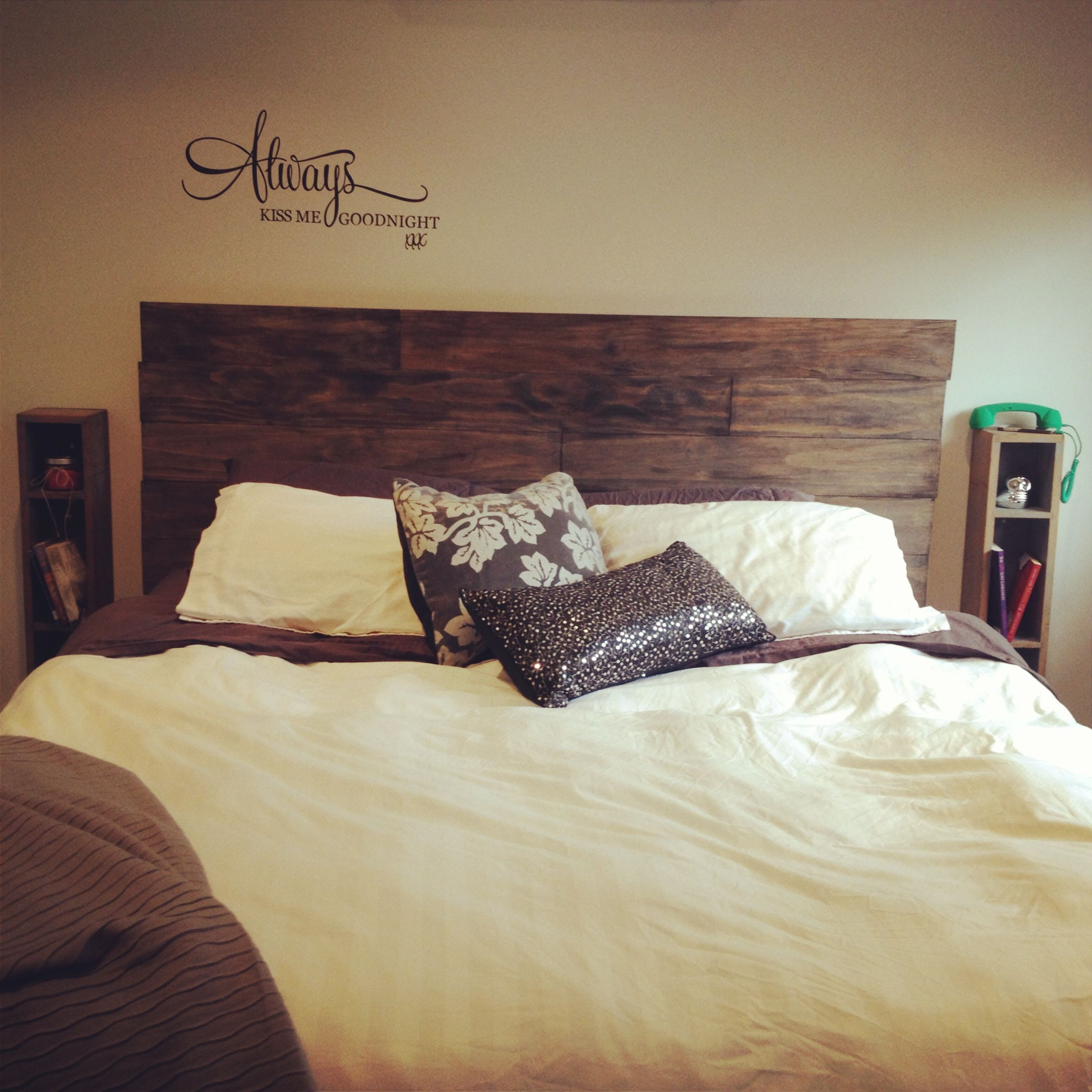 Diy Timber Bed Head Distressed Treated Pine With Hammer Chains Etc Then Stained It Grey Too Easy