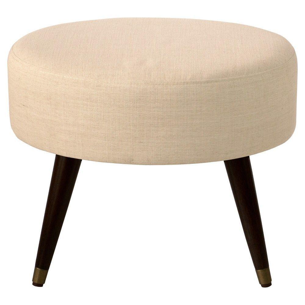 Brinkleigh Oval Ottoman - Beige with gold cap leg - Threshold ...