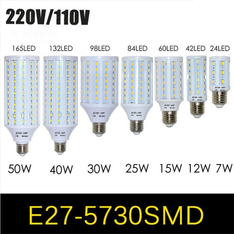 E27 E14 Base 5730 5630 Smd Led Corn Bulb Ac220v Ac110v 7w 12w 15w 25w 30w 40w 50w High Luminous Spotlight Led Lamp Light T5 Led Bulb 100 Watt Led Bulb From