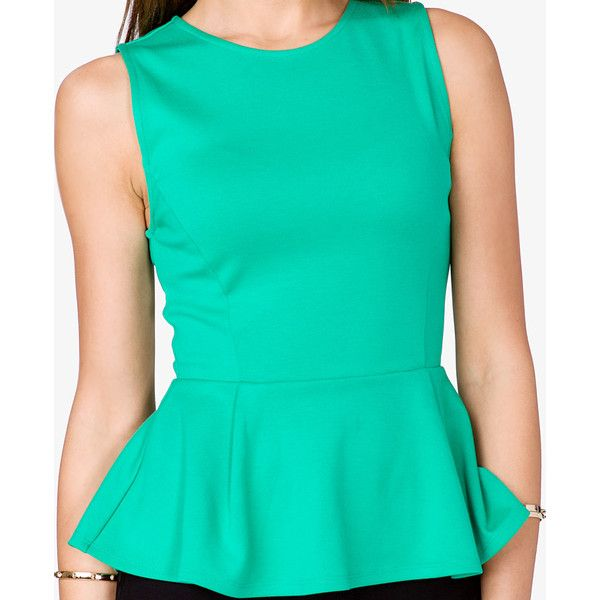 FOREVER 21 Peplum Top ($14) ❤ liked on Polyvore
