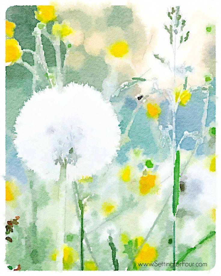 Free Watercolor Art Printable - Field Of Flowers