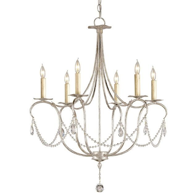 Silver and Crystal Drop Chandelier